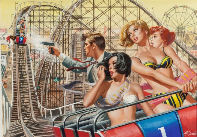 Mort Kunstler, The Night the Mob Took Over Thrill Park, For Men Only magazine cover