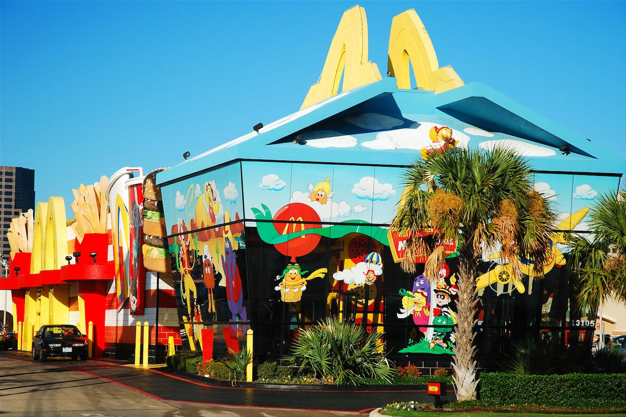 A-McDonalds-in-Dallas-Texas-is-designed-to-resemble-the-restaurants-Happy-Meal-container